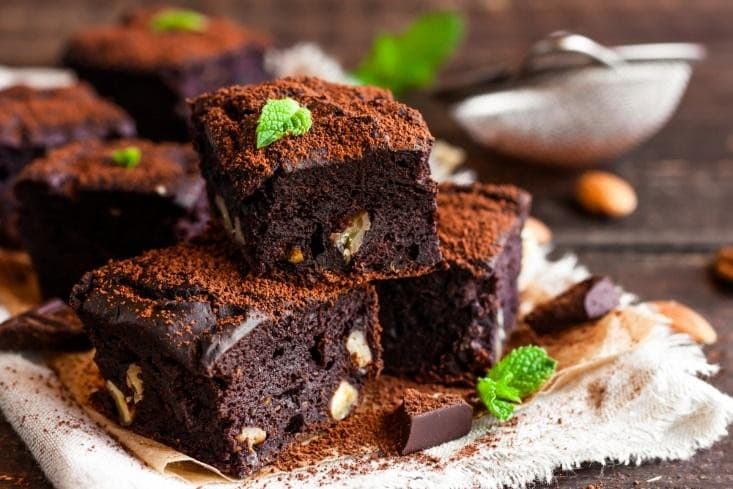 Chocolate Brownie with Mint Leaves